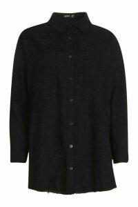 Womens Oversized Cord Shirt - black - 10, Black