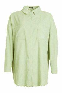 Womens Oversized Cord Shirt - green - 16, Green