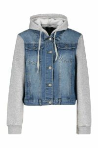 Womens Jersey Sleeve Denim Jacket - Blue - 16, Blue