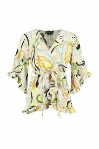 Printed Kimono Wrap Top - yellow - 14, Yellow