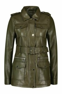 Womens Longline Belted Utility Pu Jacket - Green - L, Green