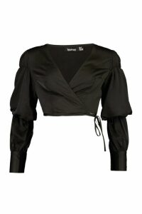 Womens Satin Wrap Top - black - 14, Black
