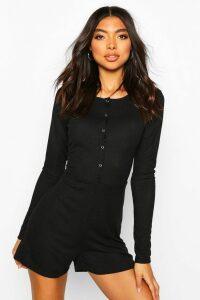 Womens Tall Rib Popper Front Long Sleeve Playsuit - Black - 18, Black