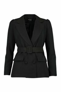 Womens Belted Blazer - Black - 14, Black