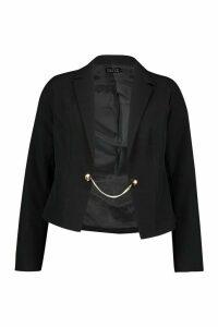 Womens Chain Detail Tailored Blazer - Black - 12, Black