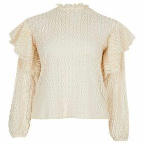 River Island Womens Petite Cream sheer lace blouse