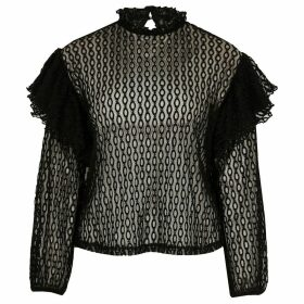River Island Womens Petite Black sheer lace blouse