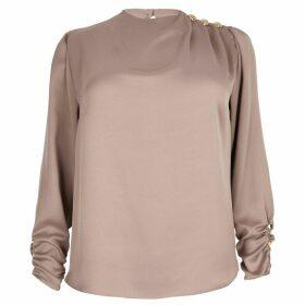 River Island Womens Plus Pink button shoulder satin blouse