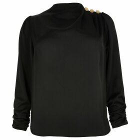 River Island Womens Plus Black button shoulder satin blouse