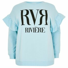 River Island Womens Plus Blue RVR frill shoulder sweatshirt