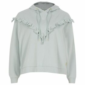 River Island Womens Petite Blue frill chevron ribbed crop hoodie