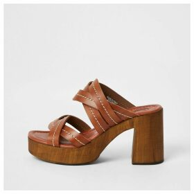 River Island Womens Brown leather platform mule sandals