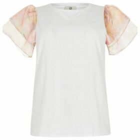 River Island Womens Plus White floral organza frill T-shirt