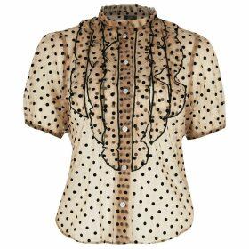 River Island Womens Petite Beige sheer polka dot ruffle blouse