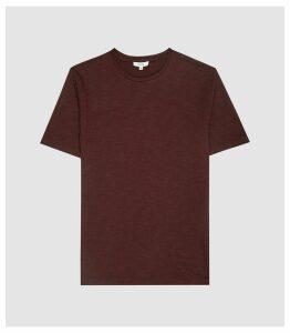 Reiss Ryan - Melange Cotton Blend T-shirt in Bordeaux, Mens, Size XXL