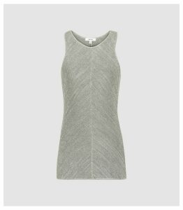 Reiss Kat - Metallic Knitted Top in Silver Grey, Womens, Size XL