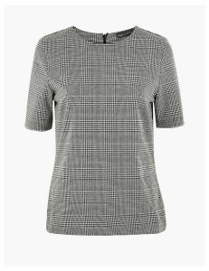 M&S Collection Ponte Checked Short Sleeve Top