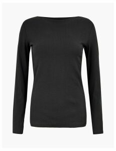M&S Collection Cotton Rich Slash Neck Long Sleeve Top