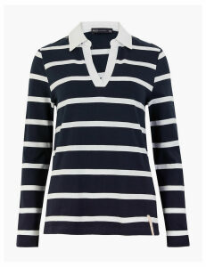 M&S Collection Pure Cotton Striped Rugby Long Sleeve Top