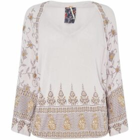 Free People Medallion Printed V Neck Blouse