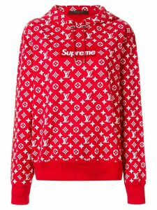 Louis Vuitton x Supreme logo hoodie - Red