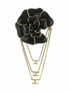Chanel Pre-Owned 2002 chained rose brooch - Black