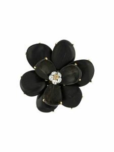 Chanel Pre-Owned 2002 wood petals flower brooch - Black