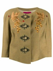 Christian Lacroix Pre-Owned chest embroideries collarless jacket -