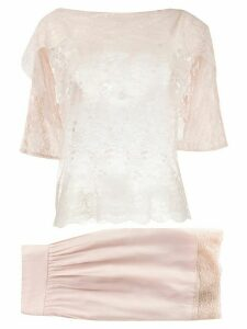 Christian Dior pre-owned sheer lace skirt and blouse - PINK
