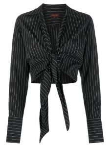 Romeo Gigli Pre-Owned 1990s striped cropped shirt - Black
