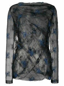 Romeo Gigli Pre-Owned SS 1990 embroidered sheer blouse - Black