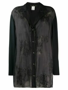 Gianfranco Ferré Pre-Owned 1990s stained effect sheer shirt - Blue
