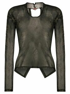 Romeo Gigli Pre-Owned 1990s metallic stamps sheer blouse - Black