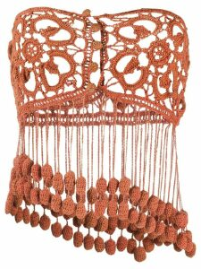 Romeo Gigli Pre-Owned 1990s fringed crochet top - Brown