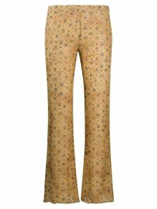 Romeo Gigli Pre-Owned SS 1998 floral bootcut trousers - NEUTRALS