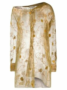 Romeo Gigli Pre-Owned SS 1999 floral embroidery sheer shirt - GOLD