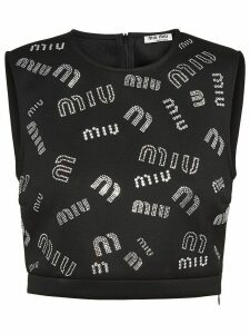 Miu Miu crystal-embellished logo crop top - Black