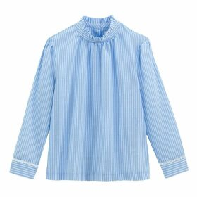 Striped Cotton Blouse with Ruffled High Neck and Long Sleeves