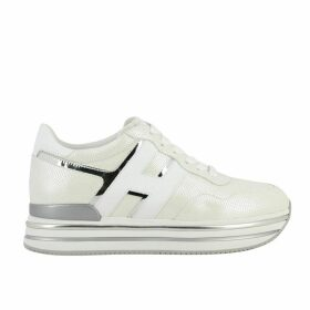 Hogan Sneakers Hogan 468 Midi Platform Sneakers In Leather With Big H And Glitter Piping