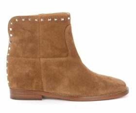 Via Roma 15 Ankle Boot In Leather-colored Suede With Studs