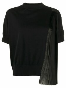 Sacai Side Pleated Detail Knitted Top