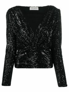 Saint Laurent Crossover Front Sequinned Blouse