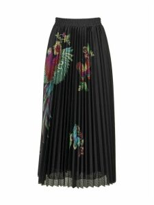 RED Valentino Long Pleated Skirt With Flowers And Parrot