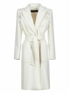 Max Mara Floral Applique Belted Coat