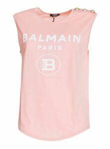 Balmain Cotton T-shirt With Balmain Logo Print