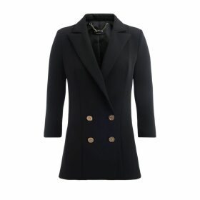 Double-breasted Jacket By Elisabetta Franchi With 3/4 Sleeves In Black Fabric