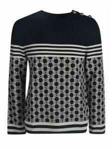 Balmain Ribbed Logo Print Sweatshirt