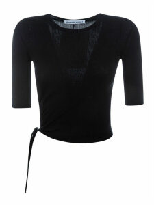 T by Alexander Wang Ruched Wool Rib Crewneck Sweater