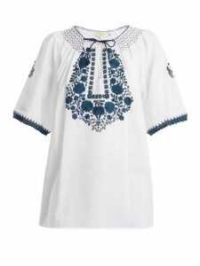 Muzungu Sisters - Eva Embroidered Cotton Top - Womens - White Navy