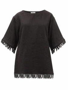 Fil De Vie - Riad Fringed Linen-poplin T-shirt - Womens - Black